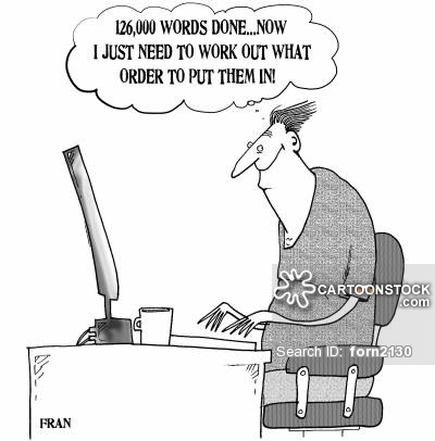 '126,000 words done...now I just need to work out what order to put them in.'